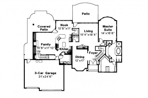 European House Plan - Bennington 30-088 - 1st Floor Plan