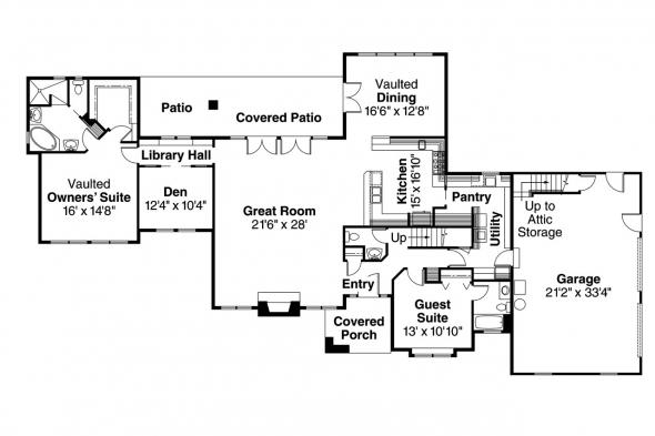 European House Plan - Brelsford 30-202 - 1st Floor Plan