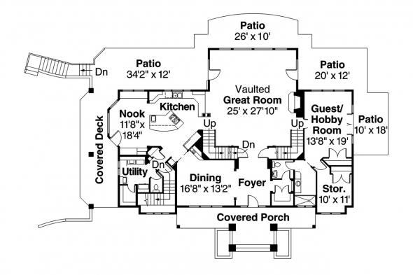 European House Plan - Brynwood 30-340 - 1st Floor Plan