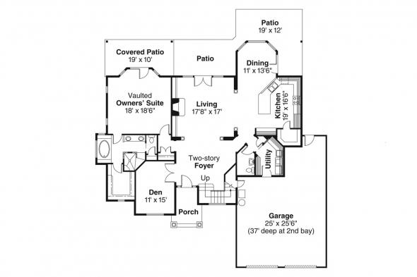 European House Plan - Edmonton 30-342 - 1st Floor Plan