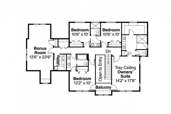 European House Plan - Gerabaldi 30-543 - 2nd Floor Plan
