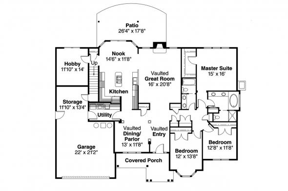 European House Plan - Hargrove 30-409 - 1st Floor Plan