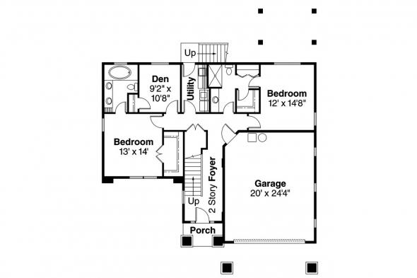 European House Plan - Marianna 30-592 - Lower Floor Plan