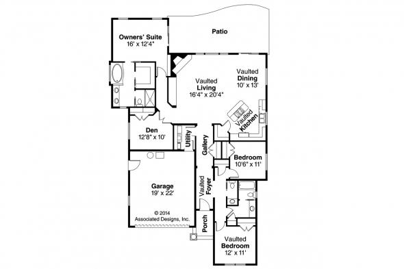 European House Plan - Sedona 30-568 - Floor Plan