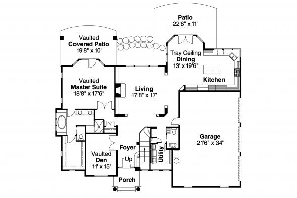 European House Plan - Southwick 30-482 - 1st Floor Plan