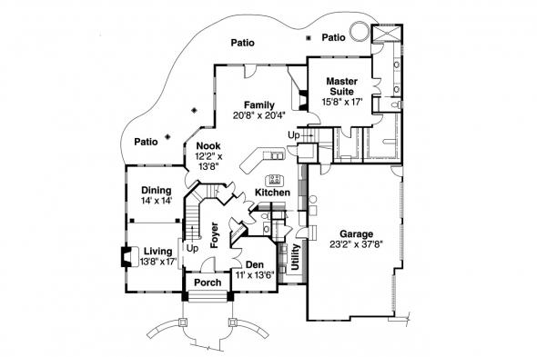 European House Plan - Stonehaven 30-465 - 1st Floor Plan