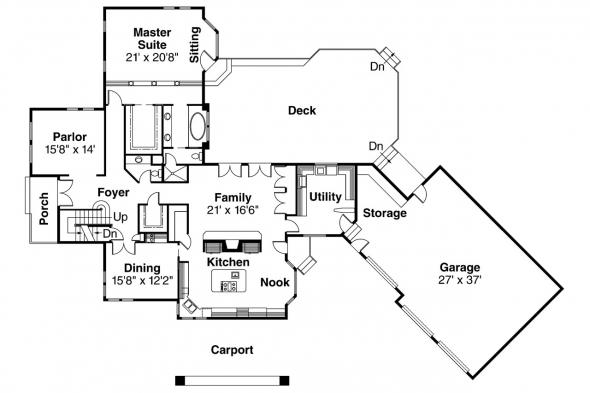 European House Plan - Wilshire 10-031 - 1st Floor Plan
