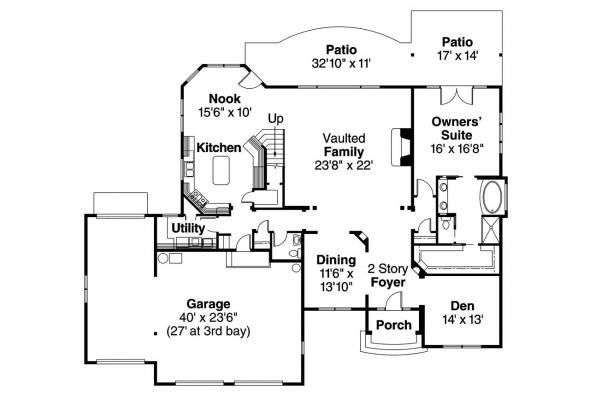 European House Plan - Yorkshire 30-505 - 1st Floor Plan