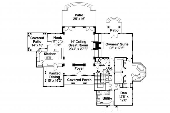 Lodge Style House Plan - Everheart 10-440 - 1st Floor Plan