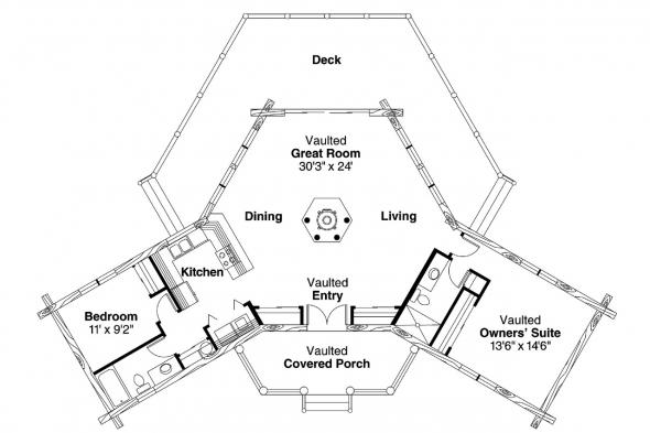Lodge Style House Plan - Ridgeline 10-062 - Floor Plan