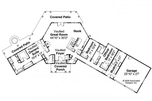 Lodge Style House Plan - Willow Creek 10-542 - Floor Plan