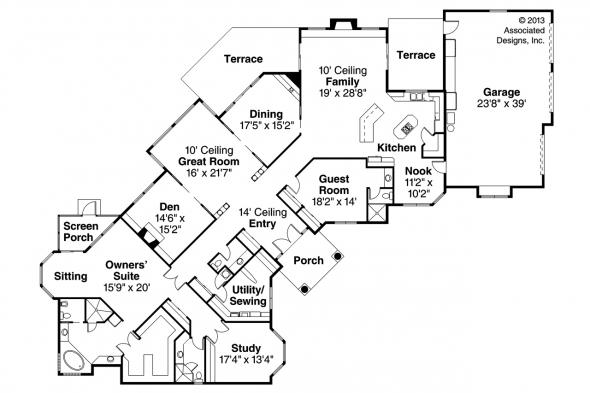 Mediterranean House Plan - Braxton 11-040 - Floor Plan