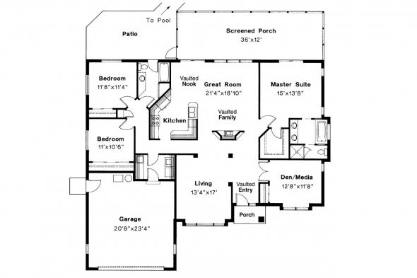 Mediterranean House Plan - Cypress 11-001 - Floor Plan