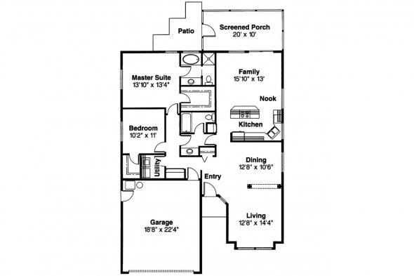 Mediterranean House Plan - Daytona 11-034 - Floor Plan