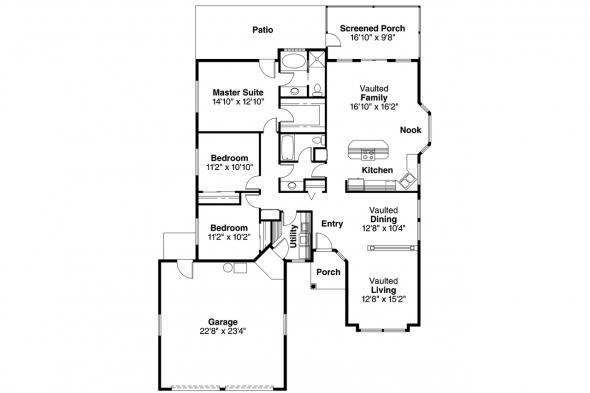 Mediterranean House Plan - Quincy 11-017 - Floor Plan