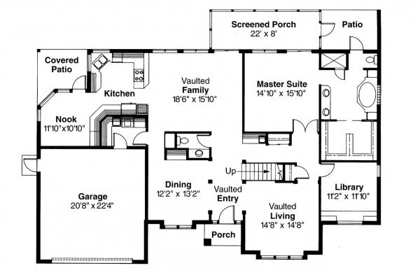 Mediterranean House Plan - San Antonio 11-053 - 1st Floor Plan
