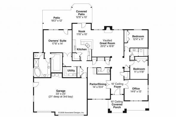 Prairie Style House Plan - Creekstone 30-708 - Floor Plan