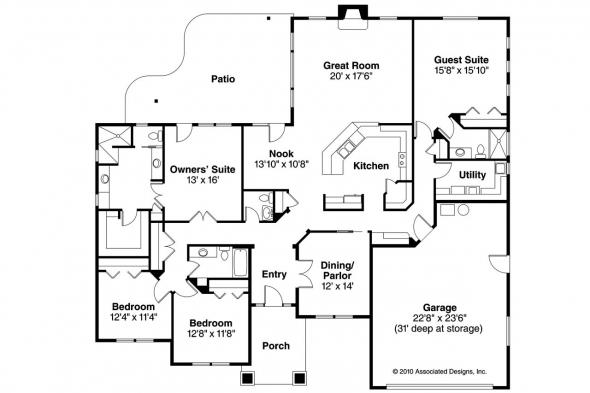 Prairie Style House Plan - Crownpoint 30-770 - Floor Plan