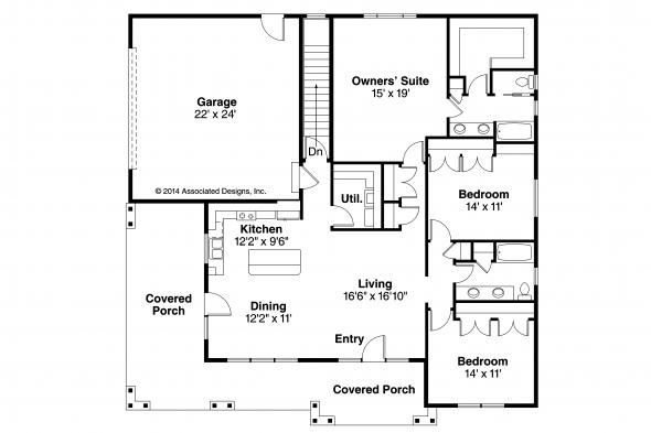 Prairie Style House Plan - Sahalie 30-768 - Floor Plan