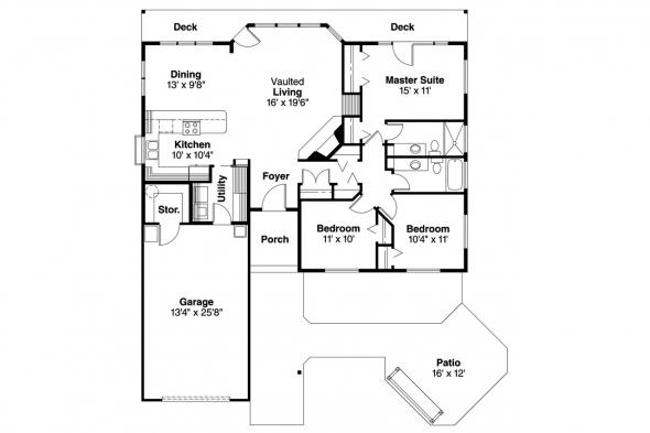 Ranch House Plan - Connelly 30-375 - Floor Plan