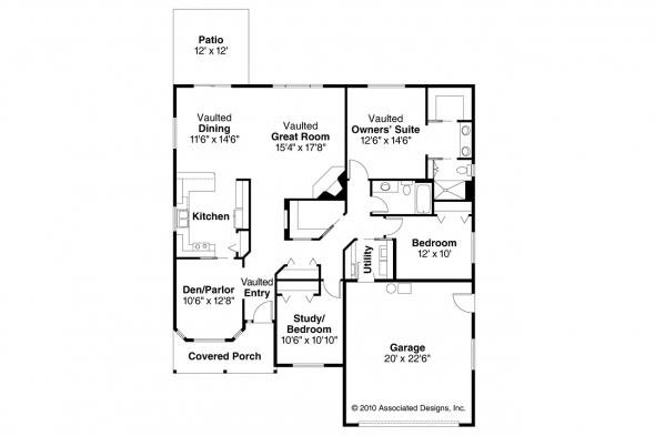 Ranch House Plan - Granbury 30-662 - Floor Plan