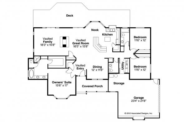 Ranch House Plan - Grayling 10-207 - Floor Plan