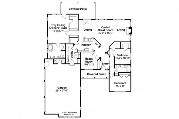 Ranch House Plan - Hills Creek 10-573 - Floor Plan