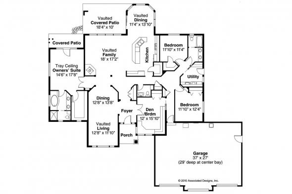 Ranch House Plan - Meadow Lake 30-767 - Floor Plan