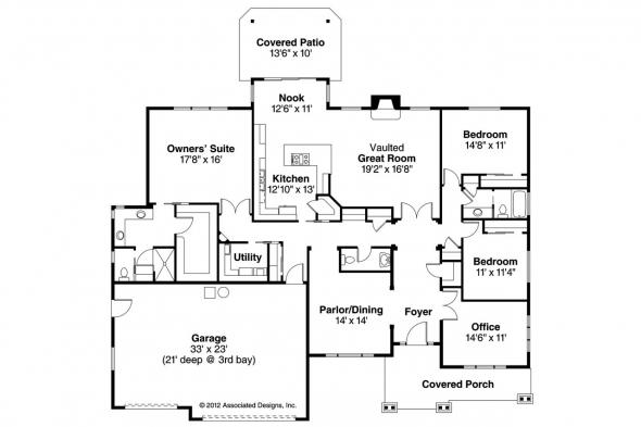 Ranch House Plan - Oak Hill 30-810 - Floor Plan