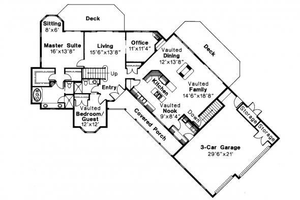 Ranch House Plan - Ridgecrest 10-257 - 1st Floor Plan