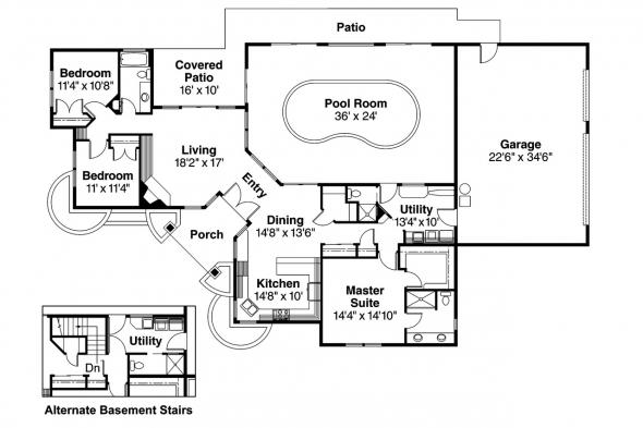 Ranch House Plan - Willison 30-165 - Floor Plan