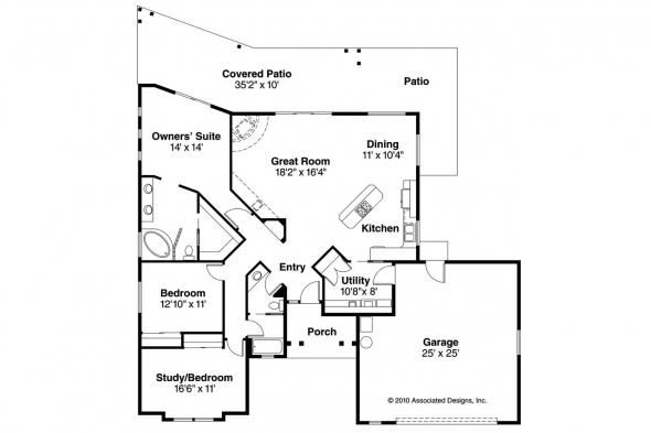 Southwest House Plan - Mesa Verde 11-126 - Floor Plan