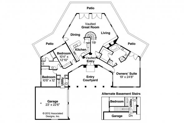 Southwest House Plan - Oakland 10-037 - 1st Floor Plan