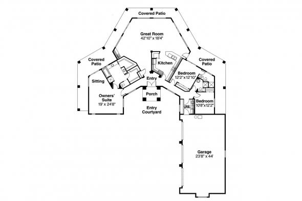 Southwest House Plan - Santa Fe 11-127 - Floor Plan