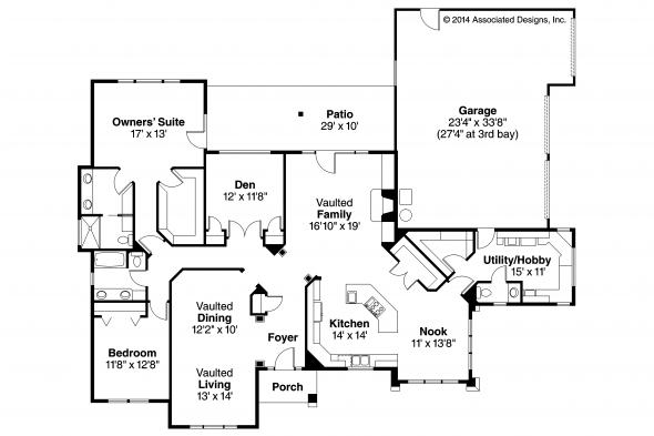 Southwestern House Plan - Mesilla 30-183 - Floor Plan
