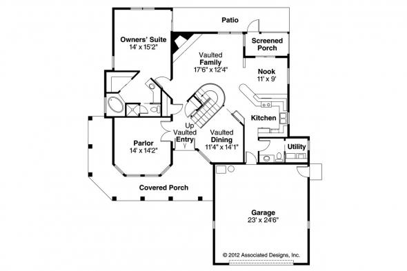 Spanish Style House Plan - Kendall 11-092 - 1st Floor Plan