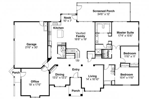 Spanish Style House PLan - Santa Maria 11-033 - 1st Floor Plan