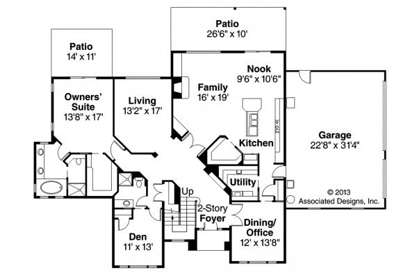 Traditional House Plan - Bloomsburg 30-667 - 1st Floor Plan