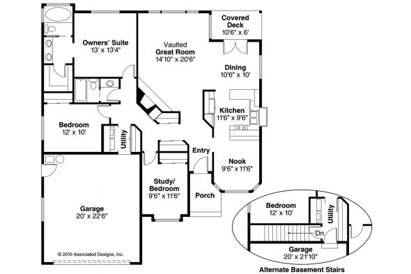 Traditional House Plan - Danforth 10-004 - Floor Plan