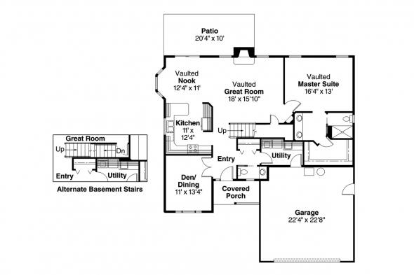 Traditional House Plan - Jasper 30-141 - 1st Floor Plan