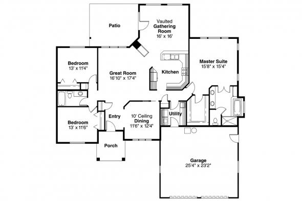 Traditional House plan - Marcus 30-039 - Floor Plan
