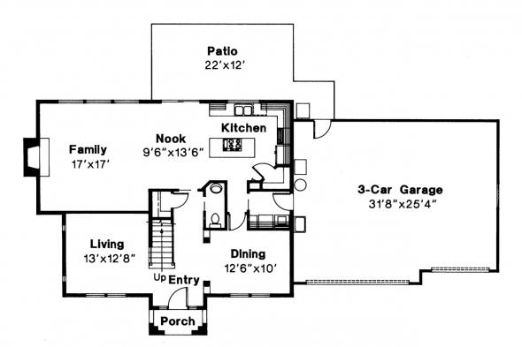 Tudor House Plan - Livingston 30-046 - 1st Floor Plan