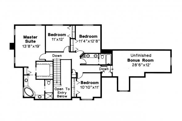 Tudor House Plan - Livingston 30-046 - 2nd Floor Plan