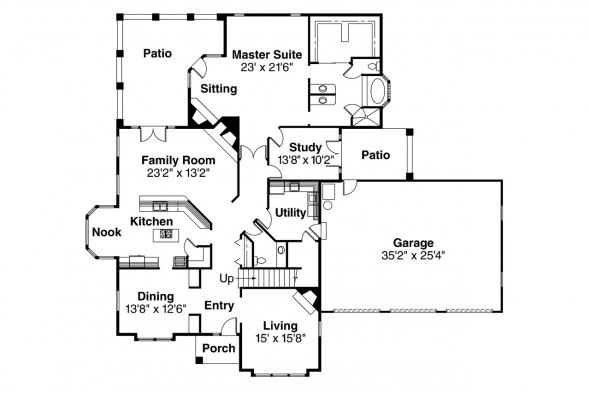 Tudor House Plan - Walbrook 10-070 - 1st Floor Plan