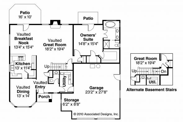 Tuscan House Plan - Mansura 30-188 - 1st Floor Plan