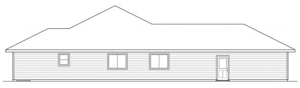Oakdale - 30-881 - Prairie Home Plan - Left Elevation