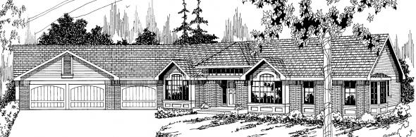 Sheridan - 10-042 - Ranch Home Plans - Front Elevation