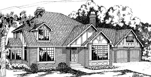 Walbrook - 10-070 - Tudor Home Plans - Front Elevation