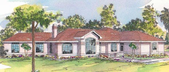 Grenada - 11-043 - Mediterranean Home Plans - Front Elevation