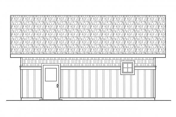 2 Car Garage Plan 20-003 - Left Elevation